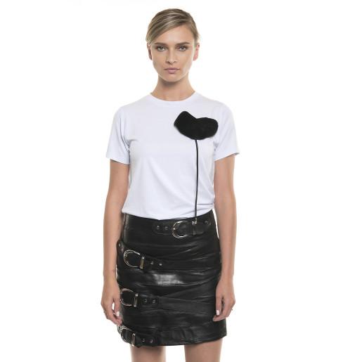 Tricou de bumbac, cu accesoriu de blană naturală, alb