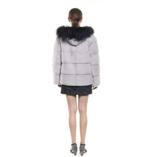 Jachetă de blană naturală de vizon, reversibilă, cu glugă, Silver Gray, 65 cm