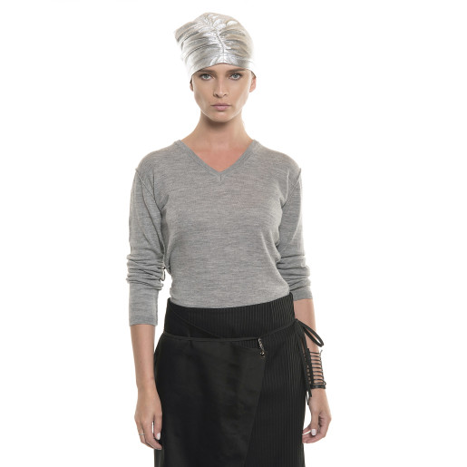 Turban de piele naturală, argintiu