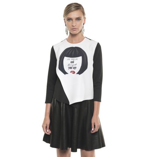 Bluză asimetrică cu mesaj, alb cu negru