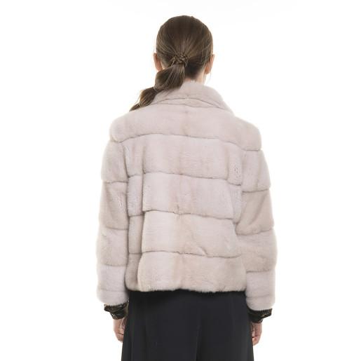 Jachetă de blană naturală de vizon/ nurcă, Crystal Gray, 60 cm