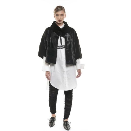 Jachetă de blană naturală de vizon/nurcă, neagră, 62 cm