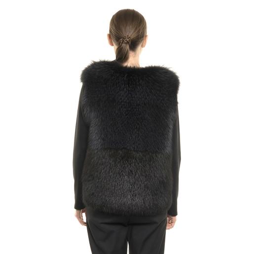 Vestă de blană naturală de vulpe, neagră, 45 cm