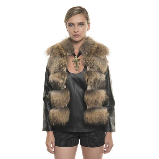 Jachetă de blană naturală de raton, cu mâneci, aurie 60 cm
