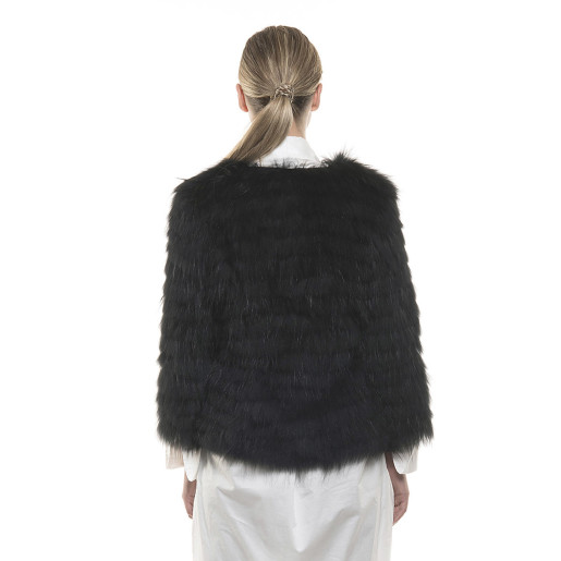 Jachetă de blană naturală de raton, neagră, 60 cm