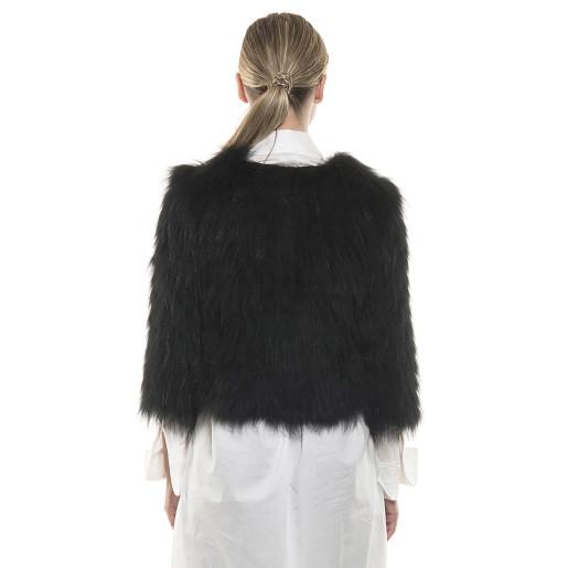 Jachetă de blană naturală de raton, neagră, 50 cm