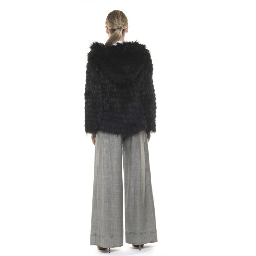 Jachetă de blană naturală de raton, cu glugă, neagră, 60 cm