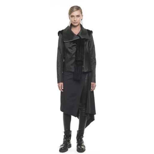 Jachetă asimetrică din țesătură cu fir metalic, neagră
