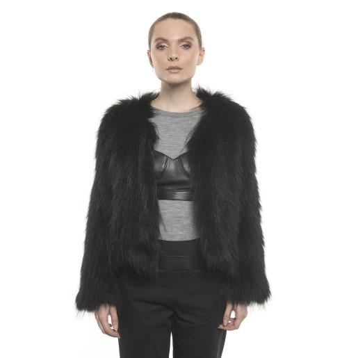 Jachetă de blană naturală de raton, culoare neagră, 50 cm
