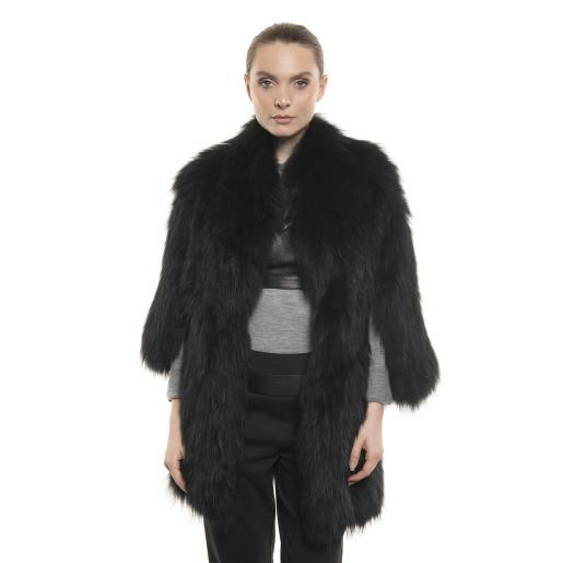 Jachetă de blană naturală de raton, culoare neagră, 80 cm