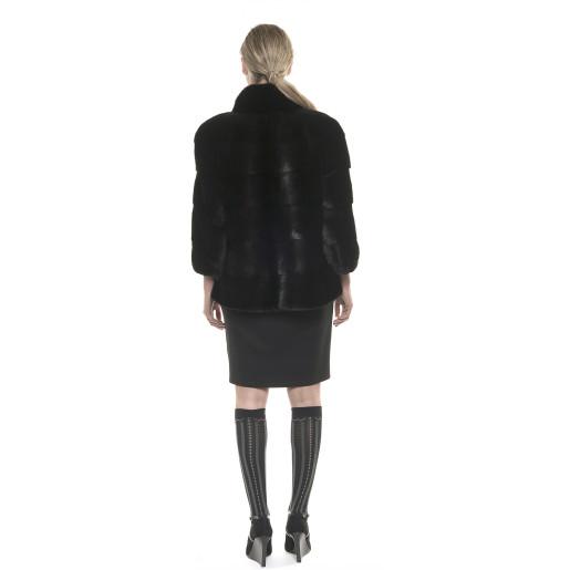 Haină de blană naturală de vizon/nurcă, neagră, 65 cm