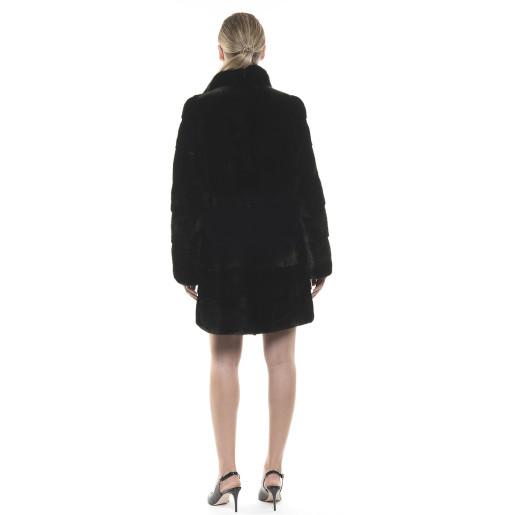 Haină de blană naturală de vizon/nurcă, neagră, 90 cm