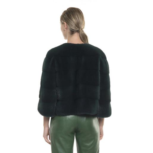 Haină de blană naturală de vizon/nurcă, verde închis, 52 de cm