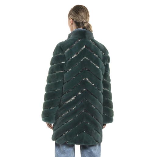 Haină de blană naturală de vizon/nurcă, verde intens, 90 cm