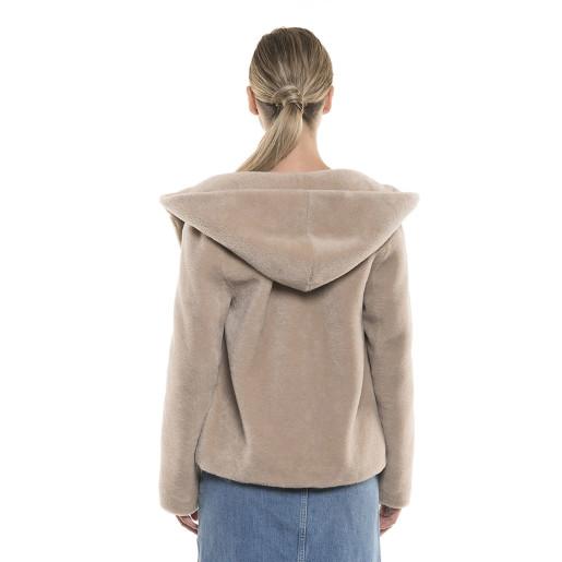 Jachetă  blană naturală de miel Pearl Australian, tip lână, bej pastel, 62 cm