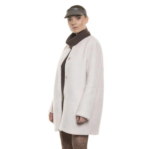 Haina dama blană natură de miel Australian,  blana tip lână, alb, 82 cm