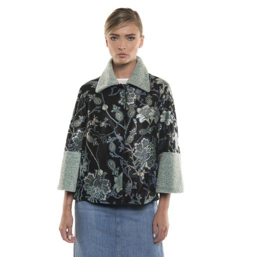Jacheta din piele naturală, pictată cu model floral, cu mansate de blana miel merinos, 65 cm