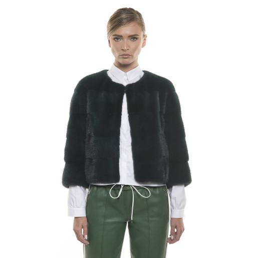 Jacheta de blană naturală de vizon/nurcă, verde închis, 52 cm