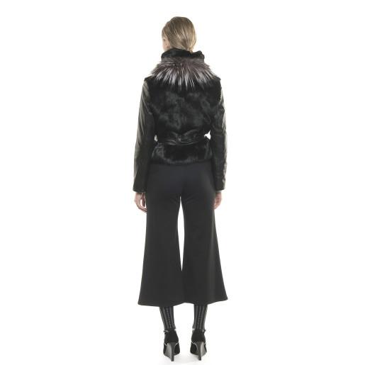 Jachetă de blană naturală de iepure, cu mâneci din piele neagra
