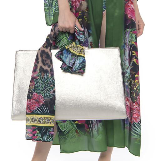 Light kimono, 100% silk, Jungle Vibe print, green border