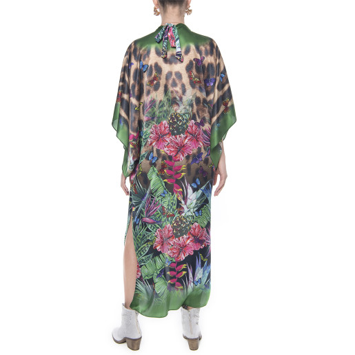 Kimono deschis, matase 100%, imprimeu Jungle Vibe, bordura verde