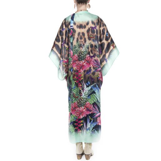 Kimono deschis, matase 100%, imprimeu Jungle Vibe, bordura turcoaz