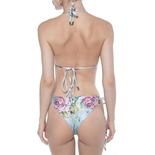 Costum baie 2 piese Dreamy Garden, sutien simplu triungi, slip bikini reglabil cu snur