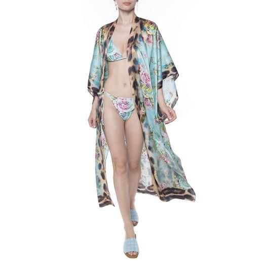 Kimono deschis, matase 100%, imprimeu Dreamy Garden