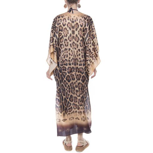 Kimono matase naturala 100%, imprimeu Feline Moves, bordura bej