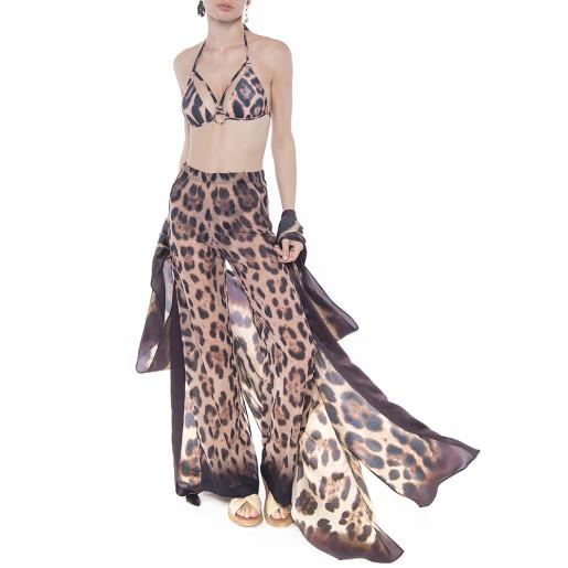 Pantaloni lungi Feline Moves, matase naturala 100%, bordura maro