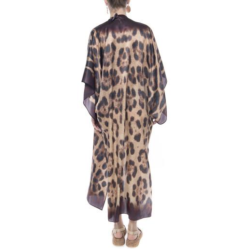 Kimono deschis, matase naturala 100%, imprimeu Feline Moves, bordura maro