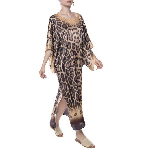 Kimono, matase 100%, imprimeu Feline Moves, bordura bej