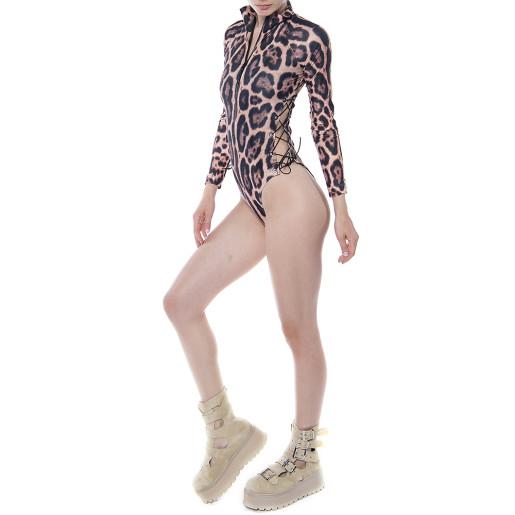 Costum baie scuba Feline Moves, talie reglabila, maneci lungi, fermoar etans