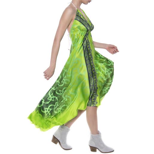 Rochie asimetrica matase 100%, imprimeu Green Jewel