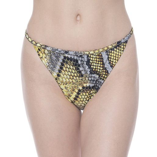 Costum baie 2 piese Yellow Dots Sneake, sutien bandana inel oval, slip brazilian talie joasa cu sistem reglabil 2 inele