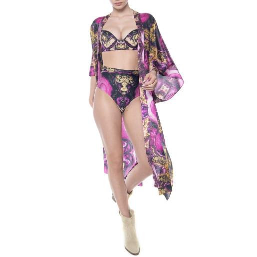 Kimono deschis, matase 100%, imprimeu Summer Kiss