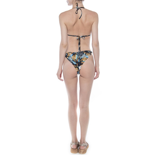 Sutien baie Blue Dots Snake, triunghi push-up cu inel metalic