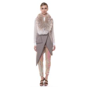 Vesta cashmere cu guler blana naturala lynks, 70cm