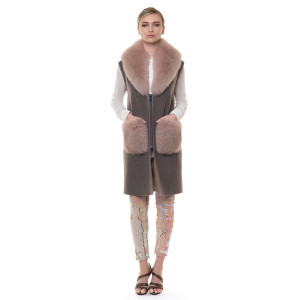 Long cashmere vest with collar and pockets of natural fox fur, 90cm