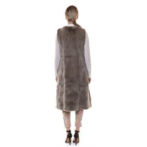 Vesta blana naturala rex chinchila, taupe, 120cm