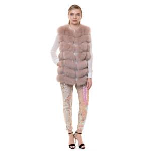 Vesta blana naturala vulpe, roz pudrat, 70 cm