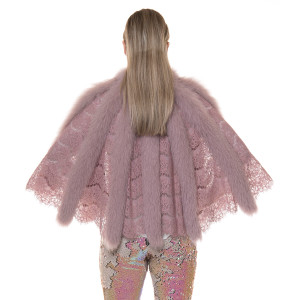 Capa de dantela cu blana naturala vulpe roz pudrat