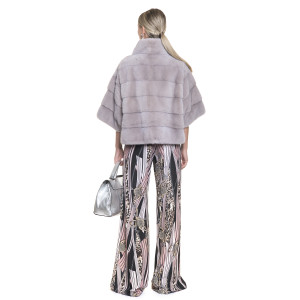Jacheta blana naturala de vizon, roz metalic pudrat, 55 cm