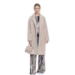 Palton dama din blana naturala din miel Australian, blana tip lana, bej, 107cm
