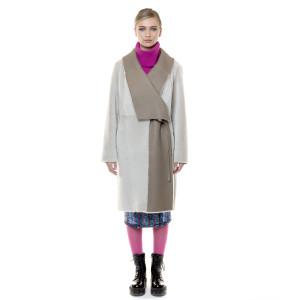 Palton reversibil, blana naturala miel, gri  bej,100 cm