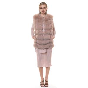 Natural fur fox vest, powdered pink, 70cm