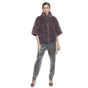Jacheta naturala vizon 65 cm, culoare bordo pudrat