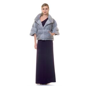Jacheta blana naturala vizon/nurca, gri Sapphire, 55 cm