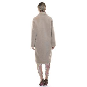 Palton blana naturala miel, blana tip lana, bej,107cm