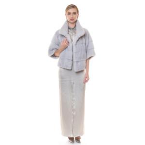 Jacheta blana naturala vizon/ nurca, gri deschis, 55 cm